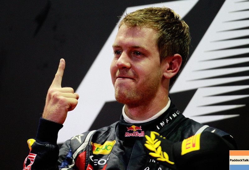 GEPA-25091199030 - FORMULA 1 - Grand Prix of Singapore. Image shows  the rejoicing of Sebastian Vettel (GER/ Red Bull Racing). Keywords: award ceremony. Photo: Getty Images/ Paul Gilham - For editorial use only. Image is free of charge