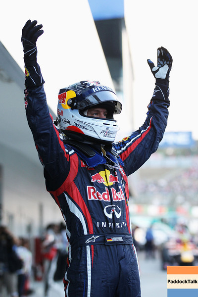 GEPA-09101199033 - FORMULA 1 - Grand Prix of Japan. Image shows the rejoicing of Sebastian Vettel (GER/ Red Bull Racing). Photo: Getty Images/ Clive Rose - For editorial use only. Image is free of charge