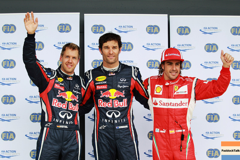 GEPA-09071199013 - FORMULA 1 - Grand Prix of Great Britain. Image shows Sebastian Vettel (GER/ Red Bull Racing), Mark Webber (AUS/ Red Bull Racing) and Fernando Alonso (ESP/ Ferrari). Photo: Getty Images/ Mark Thompson - For editorial use only. Image is free of charge