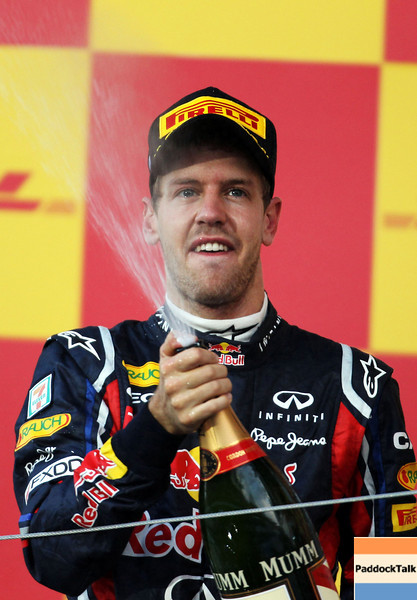 GEPA-09101199031 - FORMULA 1 - Grand Prix of Japan. Image shows the rejoicing of Sebastian Vettel (GER/ Red Bull Racing). Keywords: award ceremony, sparkling wine. Photo: Getty Images/ Clive Rose - For editorial use only. Image is free of charge