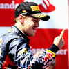 GEPA-22051199021 - FORMULA 1 - Grand Prix of Spain. Image shows the rejoicing of Sebastian Vettel (GER/ Red Bull Racing). Keywords: award ceremony. Photo: Paul Gilham/ Getty Images - For editorial use only. Image is free of charge