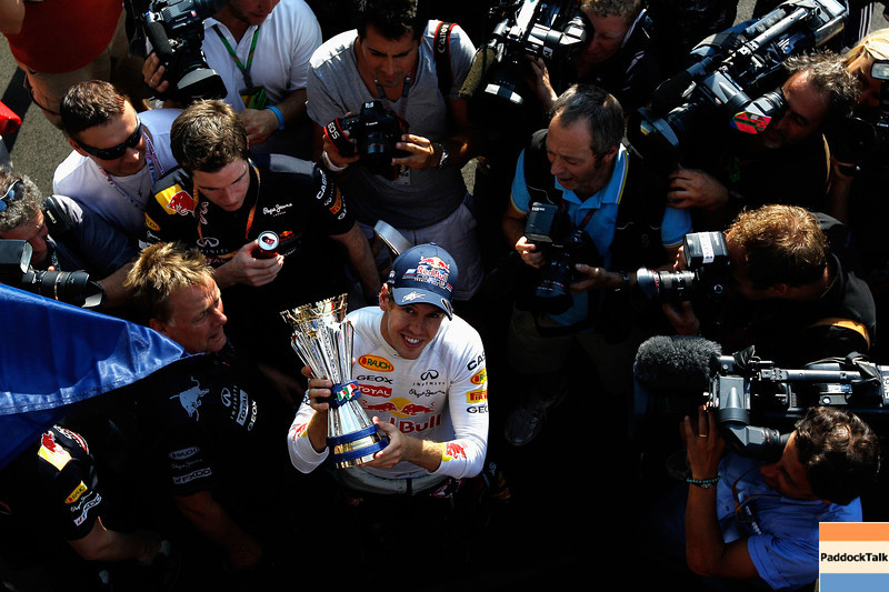 GEPA-11091199033 - FORMULA 1 - Grand Prix of Italy. Image shows Sebastian Vettel (GER/ Red Bull Racing). Keywords: trophy. Photo: Getty Images/ Paul Gilham - For editorial use only. Image is free of charge