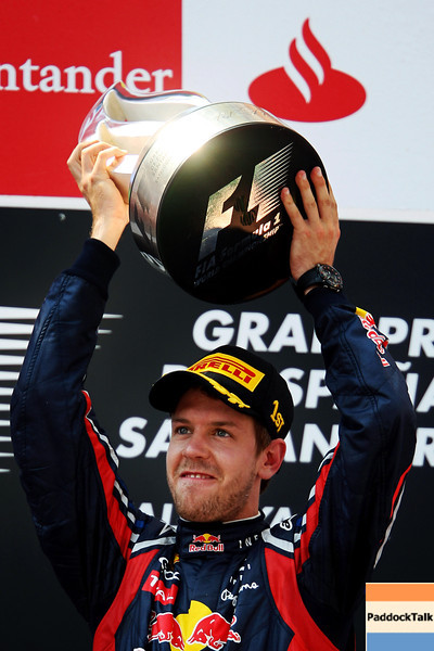 GEPA-22051199016 - FORMULA 1 - Grand Prix of Spain. Image shows Sebastian Vettel (GER/ Red Bull Racing). Keywords: award ceremony, trophy. Photo: Mark Thompson/ Getty Images - For editorial use only. Image is free of charge