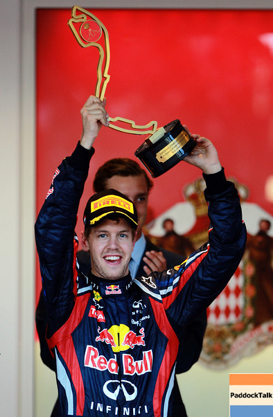 GEPA-29051199012 - FORMULA 1 - Grand Prix of Monaco. Image shows the rejoicing of Sebastian Vettel (GER/ Red Bull Racing). Keywords: Podium, award ceremony, trophy. Photo: Paul Gilham/ Getty Images - For editorial use only. Image is free of charge