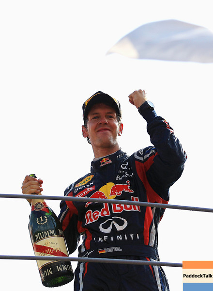 GEPA-11091199013 - FORMULA 1 - Grand Prix of Italy. Image shows the rejoicing of Sebastian Vettel (GER/ Red Bull Racing). Keywords: award ceremony. Photo: Getty Images/ Vladimir Rys - For editorial use only. Image is free of charge