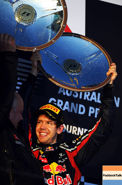 GEPA-27031199014 - FORMULA 1 - Grand Prix of Australia, award ceremony. Image shows the rejoicing of Sebastian Vettel (GER/ Red Bull Racing). Keyword: trophy. Photo: Getty Images/ Clive Mason - For editorial use only. Image is free of charge