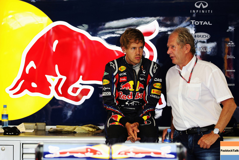 GEPA-24061199002 - FORMULA 1 - Grand Prix of Europe. Image shows Sebastian Vettel (GER/ Red Bull Racing) and motorsport consultant Helmut Marko (Red Bull). Photo: Mark Thompson/ Getty Images - For editorial use only. Image is free of charge
