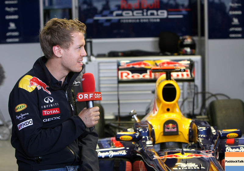 GEPA-14051181174 - SPIELBERG,AUSTRIA,14.MAY.11 - MOTORSPORT, FORMULA 1 - Media Day Red Bull Ring, project Spielberg. Image shows Sebastian Vettel (GER/ Red Bull Racing). Keywords: interview.  Photo: GEPA pictures/ Christian Walgram - For editorial use only. Image is free of charge.