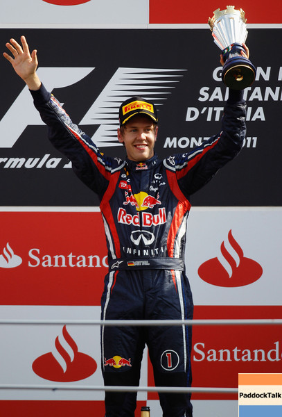 GEPA-11091199020 - FORMULA 1 - Grand Prix of Italy. Image shows the rejoicing of Sebastian Vettel (GER/ Red Bull Racing). Keywords: award ceremony. Photo: Getty Images/ Paul Gilham - For editorial use only. Image is free of charge