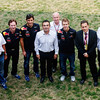 GEPA-30101199000 - FORMULA 1 - Grand Prix of India, Buddh-International-Circuit. Image shows technical officer Adrian Newey, team prinicpal Christian Horner, Mark Webber (AUS/ Red Bull Racing), CEO Carlos Ghosn (Renault-Nissan), Sebastian Vettel (GER/ Red Bull Racing), secretary Eric Besson (France) and team director Jean-Francois Caubet (Renault). Photo: Getty Images/ Mark Thompson - For editorial use only. Image is free of charge