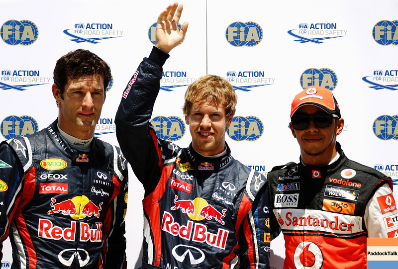 GEPA-25061199020 - FORMULA 1 - Grand Prix of Europe. Image shows Mark Webber (AUS), Sebastian Vettel (GER/ Red Bull Racing) and Lewis Hamilton (GBR/ McLaren Mercedes). Photo: Paul Gilham/ Getty Images - For editorial use only. Image is free of charge