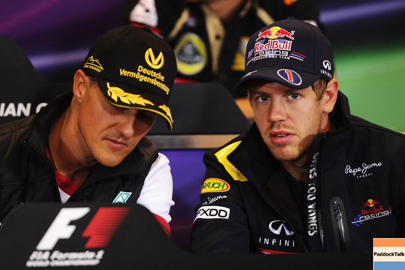 GEPA-25081199002 - FORMULA 1 - Grand Prix of Belgium, Spa Francorchamps. Image shows Michael Schumacher (GER/ Mercedes GP) and Sebastian Vettel (GER/ Red Bull Racing). Keywords: press conference. Photo: Getty Images/ Vladimir Rys - For editorial use only. Image is free of charge