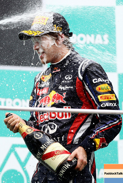 GEPA-10041199013 - FORMULA 1 - Grand Prix of Malaysia, Sepang Circuit. Image shows Sebastian Vettel (GER/ Red Bull Racing). Keywords: award ceremony, podium. Photo: Getty Images/ Paul Gilham - For editorial use only. Image is free of charge