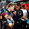 GEPA-13111199012 - FORMULA 1 - Grand Prix of Abu Dhabi, Yas Marina Circuit. Image shows Sebastian Vettel (GER/ Red Bull Racing) and racing engineer Guillaume Rocquelin (Red Bull Racing). Photo: Getty Images/ Mark Thompson - For editorial use only. Image is free of charge