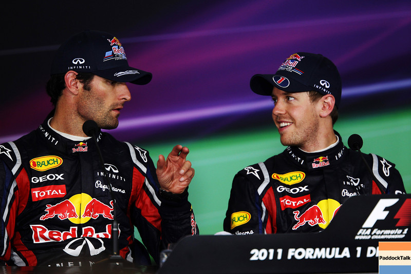 GEPA-08051199035 - FORMULA 1 - Grand Prix of Turkey. Image shows Mark Webber (AUS) and Sebastian Vettel (GER/ Red Bull Racing). Keywords: press conference. Photo: Mark Thompson/ Getty Images - For editorial use only. Image is free of charge