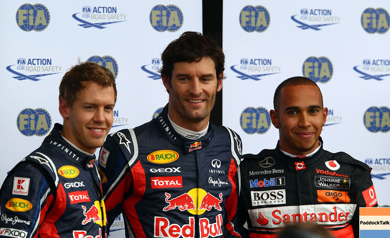 GEPA-23071199005 - FORMULA 1 - Grand Prix of Germany, Nuerburgring. Image shows Sebastian Vettel (GER), Mark Webber (AUS/ Red Bull Racing) and Lewis Hamilton (GBR/ McLaren Mercedes). Photo: Getty Images/ Mark Thompson - For editorial use only. Image is free of charge