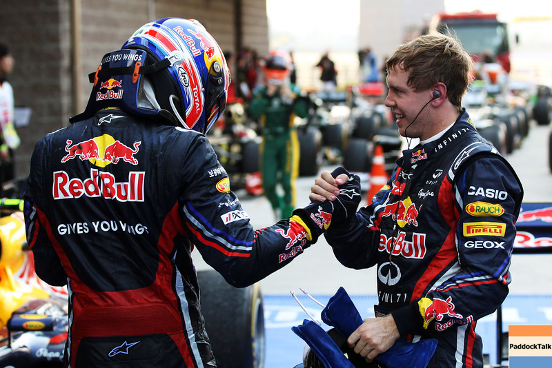 GEPA-16101199015 - FORMULA 1 - Grand Prix of South Korea, Korean International Circuit. Image shows Mark Webber (AUS) and Sebastian Vettel (GER/ Red Bull Racing). Keywords: Handshake. Photo: Getty Images/ Clive Rose - For editorial use only. Image is free of charge
