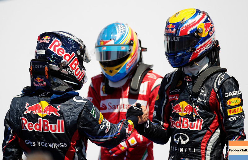 GEPA-26061199007 - FORMULA 1 - Grand Prix of Europe. Image shows Sebastian Vettel (GER/ Red Bull Racing), Fernando Alonso (ESP/ Ferrari) and Mark Webber (AUS/ Red Bull Racing). Photo: Paul Gilham/ Getty Images - For editorial use only. Image is free of charge