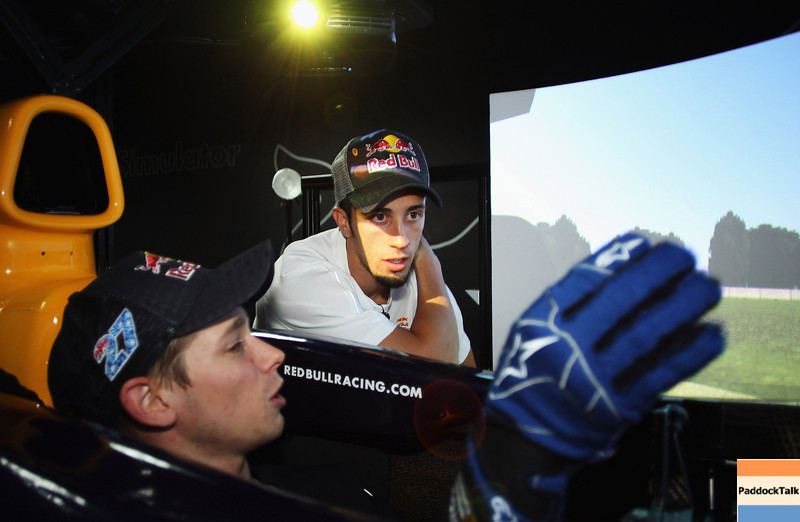 GEPA-08061199019 - FORMULA 1, MOTOGP - MotoGP Riders Visit Red Bull Factory. Image shows Casey Stoner (AUS) and Andrea Dovizioso (ITA/ Honda). Photo: Getty Images/ Bryn Lennon - For editorial use only. Image is free of charge