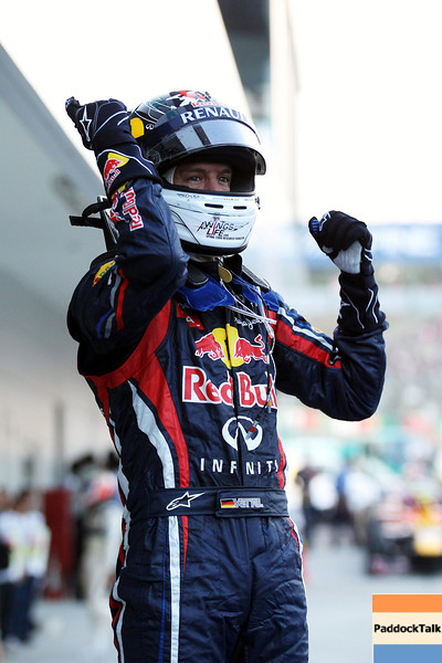 GEPA-09101199032 - FORMULA 1 - Grand Prix of Japan. Image shows the rejoicing of Sebastian Vettel (GER/ Red Bull Racing). Photo: Getty Images/ Clive Rose - For editorial use only. Image is free of charge