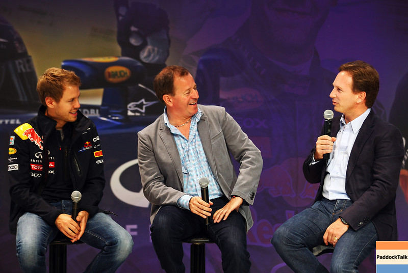 GEPA-10101199005 - FORMULA 1 - Grand Prix of Japan. Image shows Sebastian Vettel (GER/ Red Bull Racing), Martin Brundle and team principal Christian Horner (Red Bull Racing).  Photo: Getty Images/ Clive Mason - For editorial use only. Image is free of charge