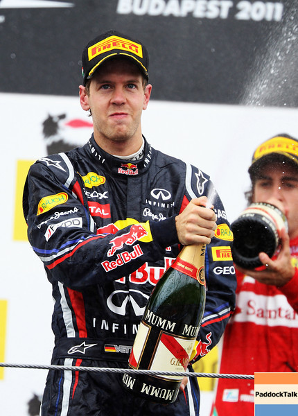 GEPA-31071199007 - FORMULA 1 - Grand Prix of Hungary, Hungaroring. Image shows  Sebastian Vettel (GER/ Red Bull Racing). Keywords: champagne. Photo: Getty Images/ Mark Thompson - For editorial use only. Image is free of charge