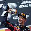 GEPA-09101199027 - FORMULA 1 - Grand Prix of Japan. Image shows the rejoicing of Sebastian Vettel (GER/ Red Bull Racing). Keywords: award ceremony, trophy. Photo: Getty Images/ Clive Rose - For editorial use only. Image is free of charge