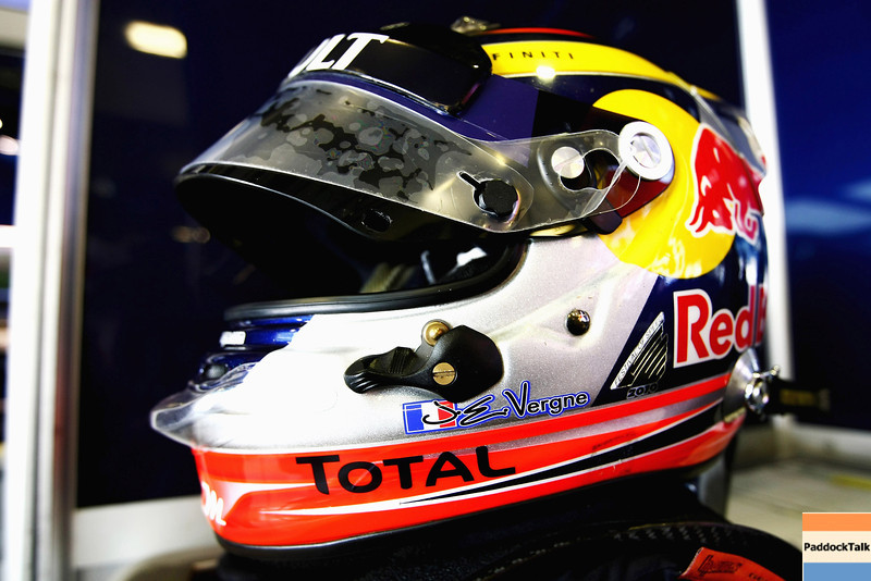 GEPA-15111199017 - FORMULA 1 - Testing in Abu Dhabi, Yas Marina Circuit, Young-Driver-Test. Image shows the helmet of test driver Jean-Eric Vergne (FRA/ Red Bull Racing). Photo: Getty Images/ Andrew Hone - For editorial use only. Image is free of charge