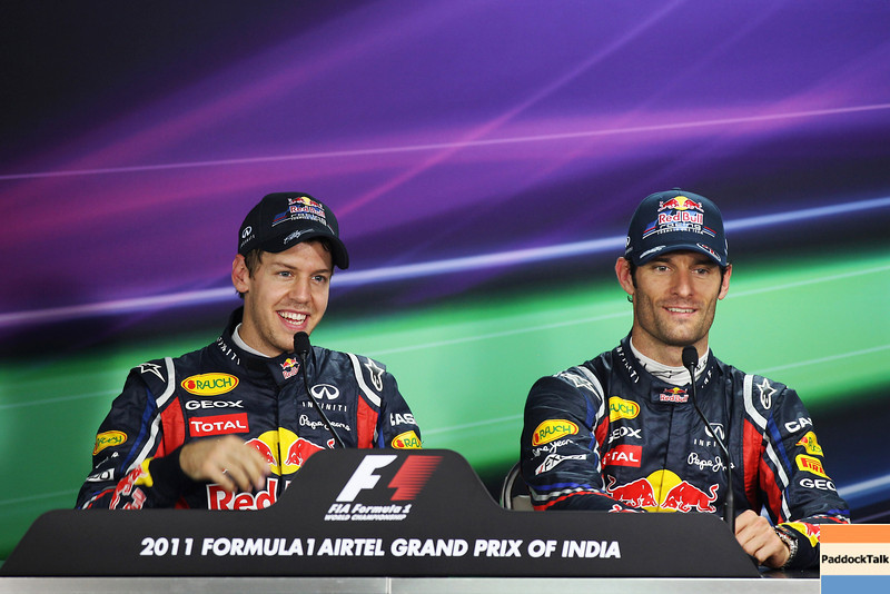 GEPA-29101199016 - FORMULA 1 - Grand Prix of India, Buddh-International-Circuit, press conference. Image shows Sebastian Vettel (GER/ Red Bull Racing) and Mark Webber (AUS/ Red Bull Racing). Photo: Getty Images/ Mark Thompson - For editorial use only. Image is free of charge