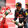 GEPA-10071199011 - FORMULA 1 - Grand Prix of Great Britain. Image shows the rejoicing of Fernando Alonso (ESP/ Ferrari), Mark Webber (AUS) and Sebastian Vettel (GER/ Red Bull Racing). Keywords: award ceremony, podium, champagne. Photo: Getty Images/ Mark Thompson - For editorial use only. Image is free of charge