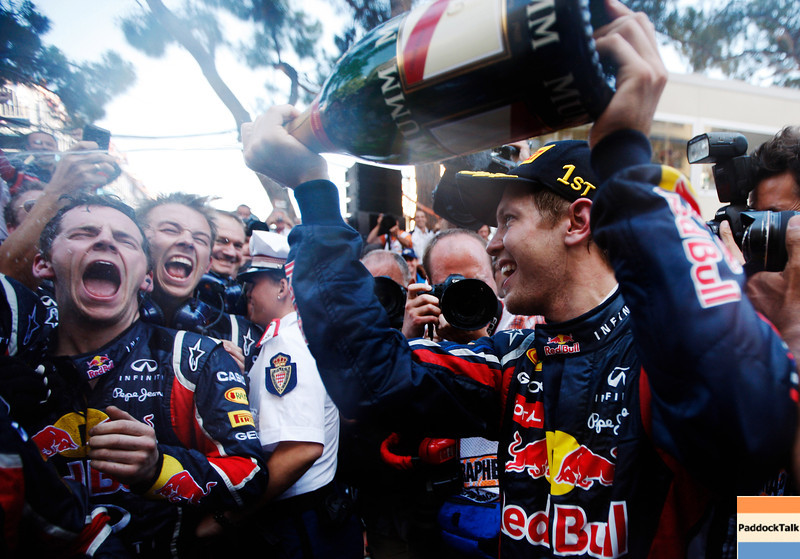 GEPA-29051199008 - FORMULA 1 - Grand Prix of Monaco. Image shows the rejoicing of Sebastian Vettel (GER/ Red Bull Racing).  Photo: Mark Thompson/ Getty Images - For editorial use only. Image is free of charge