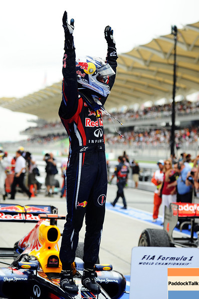 GEPA-10041199023 - FORMULA 1 - Grand Prix of Malaysia, Sepang Circuit. Image shows the rejoicing of Sebastian Vettel (GER/ Red Bull Racing). Photo: Getty Images/ Clive Mason - For editorial use only. Image is free of charge