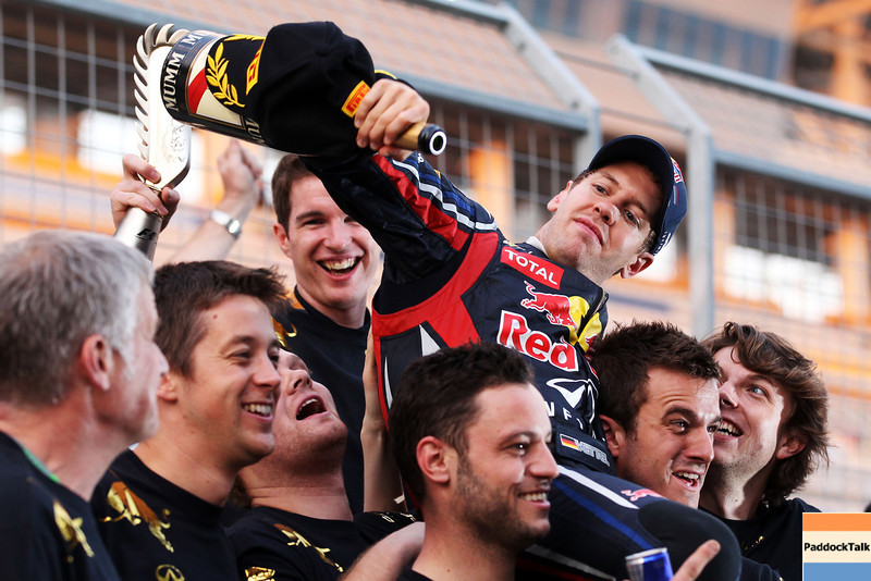 GEPA-16101199000 - FORMULA 1 - Grand Prix of South Korea, Korean International Circuit. Image shows the rejoicing of Sebastian Vettel (GER/ Red Bull Racing). Keywords: Champagner. Photo: Getty Images/ Clive Rose - For editorial use only. Image is free of charge