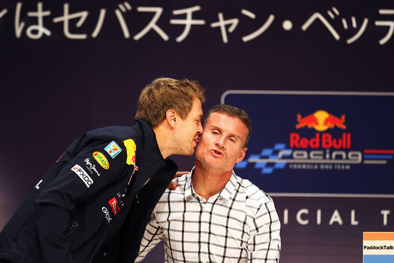 GEPA-10101199011 - FORMULA 1 - Grand Prix of Japan. Image shows Sebastian Vettel (GER/ Red Bull Racing) and David Coulthard (GBR). Photo: Getty Images/ Clive Mason - For editorial use only. Image is free of charge