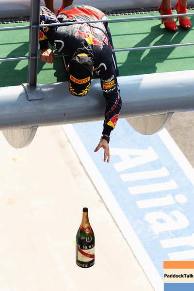 GEPA-11091199018 - FORMULA 1 - Grand Prix of Italy. Image shows Sebastian Vettel (GER/ Red Bull Racing). Keywprds: champagne. Photo: Getty Images/ Mark Thompson - For editorial use only. Image is free of charge