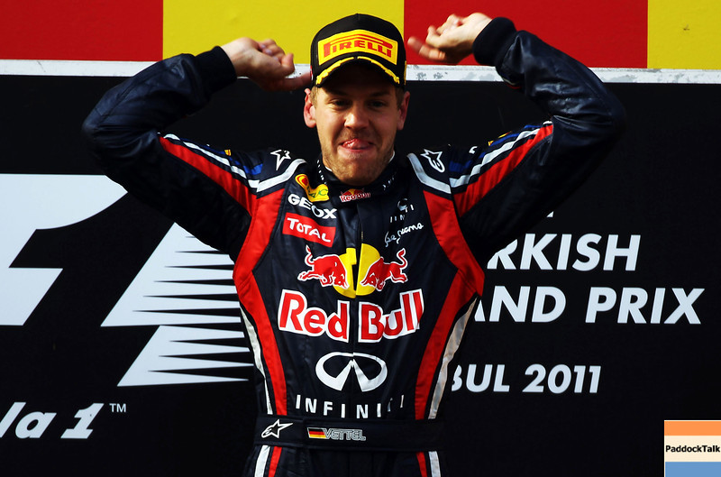 GEPA-08051199028 - FORMULA 1 - Grand Prix of Turkey. Image shows the rejoicing of Sebastian Vettel (GER/ Red Bull Racing). Keywords: podium, award ceremony. Photo: Bryn Lennon/ Getty Images - For editorial use only. Image is free of charge