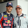 GEPA-15051134085 - SPIELBERG,AUSTRIA,15.MAY.11 - MOTORSPORT, FORMULA 1, SAILING - Open House Day Red Bull Ring, project Spielberg. Image shows Mark Webber (AUS/ Red Bull Racing) and Hans-Peter Steinacher (AUT). Photo: GEPA pictures/ Markus Oberlaender - For editorial use only. Image is free of charge.
