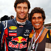 GEPA-10071199007 - FORMULA 1 - Grand Prix of Great Britain. Image shows Mark Webber (AUS/ Red Bull Racing) and Fatima Whitbread. Photo: Getty Images/ Mark Thompson - For editorial use only. Image is free of charge