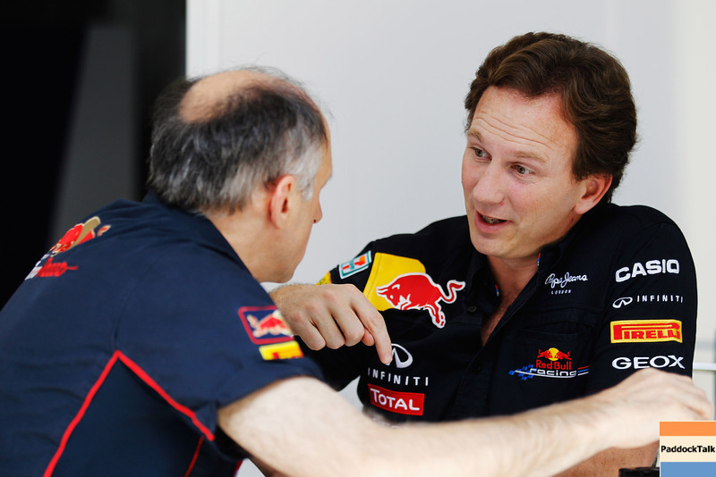 GEPA-24111199004 - FORMULA 1 - Grand Prix of Brazil, Interlagos. Image shows team prinicpal Franz Tost (Scuderia Toro Rosso) and team prinicpal Christian Horner (Red Bull Racing). Photo: Getty Images/ Paul Gilham - For editorial use only. Image is free of charge