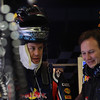 GEPA-11031199010 - FORMULA 1 - Testing in Barcelona, Circuit de Catalunya. Image shows Sebastian Vettel (GER) and Teamchef Christian Horner (Red Bull Racing). Photo: Vladimir Rys/ Getty Images - For editorial use only. Image is free of charge