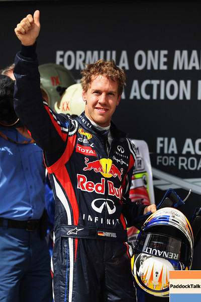 GEPA-30071199023 - FORMULA 1 - Grand Prix of Hungary, Hungaroring. Image shows the rejoicing of Sebastian Vettel (GER/ Red Bull Racing). Photo: Getty Images/ Mark Thompson - For editorial use only. Image is free of charge