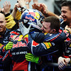 GEPA-10041199021 - FORMULA 1 - Grand Prix of Malaysia, Sepang Circuit. Image shows the rejoicing of Sebastian Vettel (GER/ Red Bull Racing) and team mates. Photo: Getty Images/ Clive Mason - For editorial use only. Image is free of charge