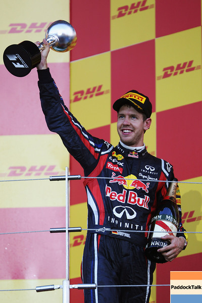 GEPA-09101199023 - FORMULA 1 - Grand Prix of Japan. Image shows the rejoicing of Sebastian Vettel (GER/ Red Bull Racing). Keywords: award ceremony, trophy. Photo: Getty Images/ Mark Thompson - For editorial use only. Image is free of charge