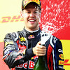 GEPA-08051199017 - FORMULA 1 - Grand Prix of Turkey. Image shows the rejoicing of Sebastian Vettel (GER/ Red Bull Racing). Keywords: podium, award ceremony, champagne. Photo: Mark Thompson/ Getty Images - For editorial use only. Image is free of charge