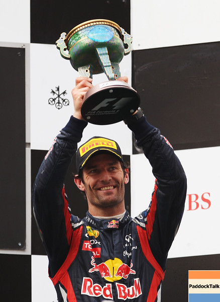 GEPA-17041199013 - FORMULA 1 - Grand Prix of China. Image shows Mark Webber (AUS/ Red Bull Racing). keywords: trophy. Photo: Getty Images/ Mark Thompson - For editorial use only. Image is free of charge