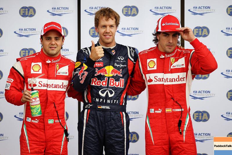 GEPA-11061199017 - FORMULA 1 - Grand Prix of Canada. Image shows Felipe Massa (BRA/ Ferrari), Sebastian Vettel (GER/ Red Bull Racing) and Fernando Alonso (ESP/ Ferrari). Photo: Paul Gilham/ Getty Images - For editorial use only. Image is free of charge