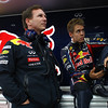 GEPA-15101199002 - FORMULA 1 - Grand Prix of South Korea, Korean International Circuit. Image shows team principal Christian Horner and Sebastian Vettel (GER/ Red Bull Racing). Photo: Getty Images/ Vladimir Rys - For editorial use only. Image is free of charge