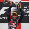 GEPA-30101199022 - FORMULA 1 - Grand Prix of India, Buddh-International-Circuit. Image shows the rejoicing of Sebastian Vettel (GER/ Red Bull Racing) Keywords: award ceremony, podium, trophy. Photo: Getty Images/ Mark Thompson - For editorial use only. Image is free of charge