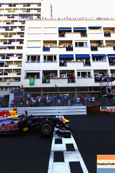 GEPA-29051199019 - FORMULA 1 - Grand Prix of Monaco. Image shows Sebastian Vettel (GER/ Red Bull Racing) crosses the finishing line. Photo: Vladimir Rys/ Getty Images - For editorial use only. Image is free of charge