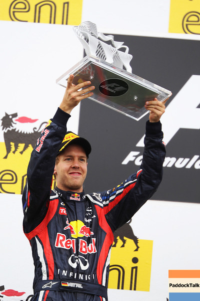GEPA-31071199014 - FORMULA 1 - Grand Prix of Hungary, Hungaroring. Image shows Sebastian Vettel (GER/ Red Bull Racing). Keywords: award ceremony, trophy. Photo: Getty Images/ Mark Thompson - For editorial use only. Image is free of charge